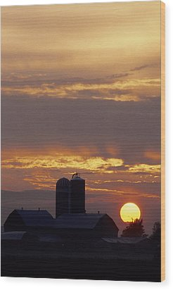 Farm At Sunset Wood Print by Steve Somerville