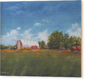 Wood Print featuring the painting Farm by Diane Daigle