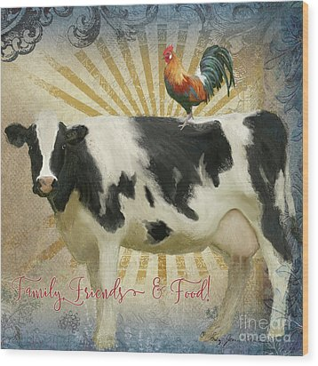 Wood Print featuring the painting Farm Fresh Barnyard Animals Cow Rooster Typography by Audrey Jeanne Roberts