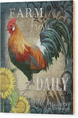 Wood Print featuring the painting Farm Fresh Daily Red Rooster Sunflower Farmhouse Chic by Audrey Jeanne Roberts