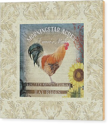 Wood Print featuring the painting Farm Fresh Damask Barnyard Rooster Sunflower Square by Audrey Jeanne Roberts