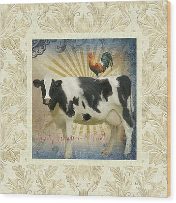Wood Print featuring the painting Farm Fresh Damask Milk Cow Red Rooster Sunburst Family N Friends by Audrey Jeanne Roberts