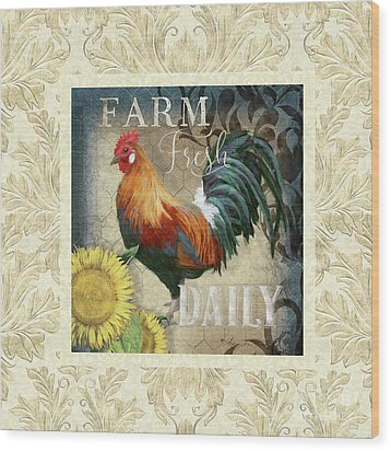 Wood Print featuring the painting Farm Fresh Damask Red Rooster Sunflower by Audrey Jeanne Roberts