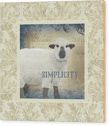 Wood Print featuring the painting Farm Fresh Damask Sheep Lamb Simplicity Square by Audrey Jeanne Roberts
