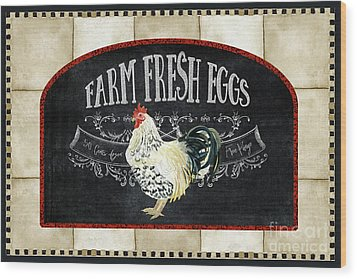 Wood Print featuring the painting Farm Fresh Roosters 1 - Fresh Eggs Typography by Audrey Jeanne Roberts