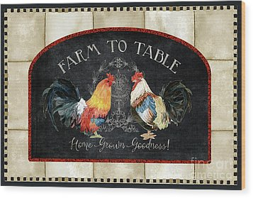 Farm Fresh Roosters 2 - Farm To Table Chalkboard Wood Print by Audrey Jeanne Roberts