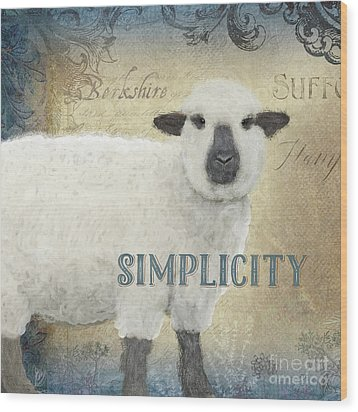 Wood Print featuring the painting Farm Fresh Sheep Lamb Simplicity Square by Audrey Jeanne Roberts