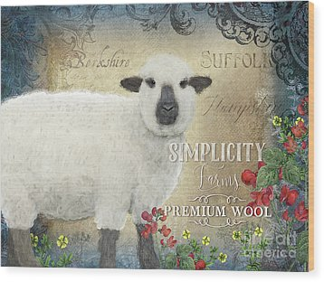 Wood Print featuring the painting Farm Fresh Sheep Lamb Wool Farmhouse Chic  by Audrey Jeanne Roberts
