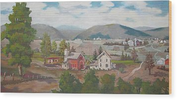 Wood Print featuring the painting Farm In The Valley by Tony Caviston