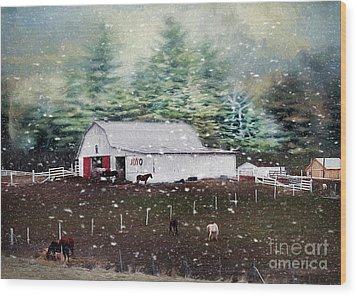 Wood Print featuring the photograph Farm Life by Darren Fisher
