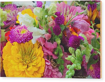 Farm Market Flowers Wood Print by PhotohogDesigns