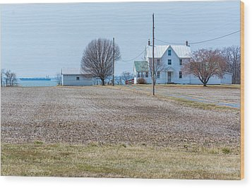 Farm On The Bay Wood Print
