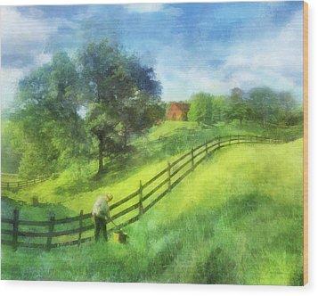 Farm On The Hill Wood Print