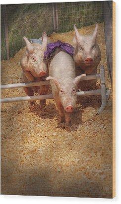 Farm - Pig - Getting Past Hurdles Wood Print by Mike Savad