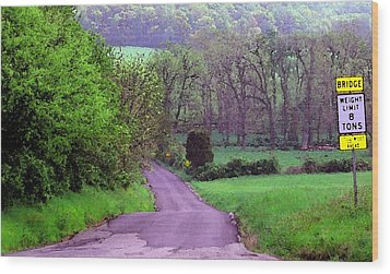 Wood Print featuring the photograph Farm Road by Susan Carella