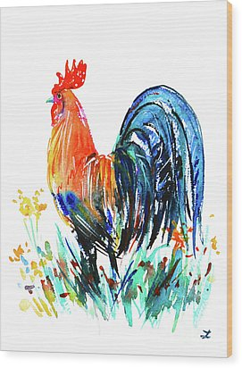 Wood Print featuring the painting Farm Rooster by Zaira Dzhaubaeva