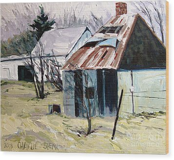 Farm Sale Wood Print by Charlie Spear