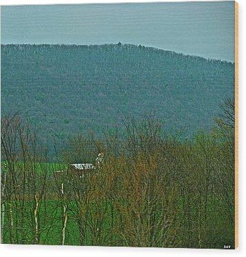 Farm Tucked Mountaintop  Wood Print by Debra     Vatalaro