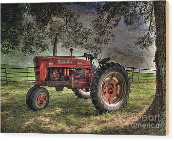 Farmall In The Field Wood Print by Michael Eingle