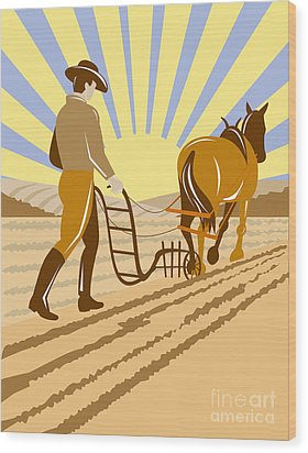 Farmer And Horse Plowing Wood Print by Aloysius Patrimonio