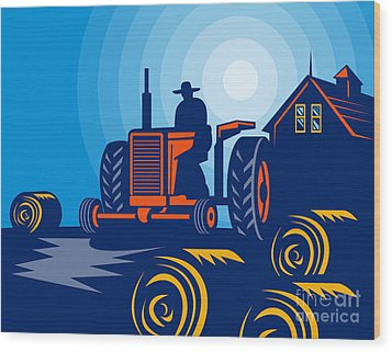 Farmer Driving Vintage Tractor Wood Print by Aloysius Patrimonio