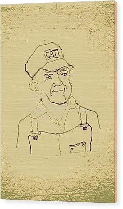 Farmer In Cat Hat Wood Print by Sheri Buchheit