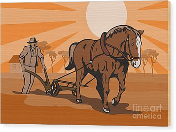 Farmer Plowing Field Wood Print by Aloysius Patrimonio