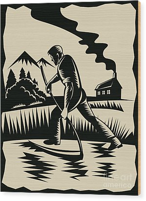 Farmer With Scythe Wood Print by Aloysius Patrimonio