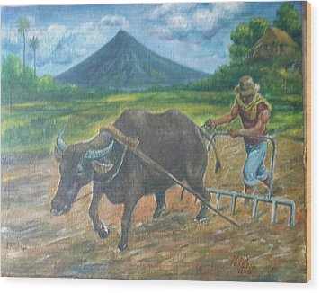 Farmer_2 Wood Print by Manuel Cadag