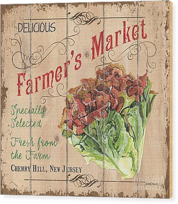 Farmer's Market Sign Wood Print by Debbie DeWitt