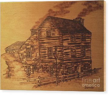 Wood Print featuring the pyrography Farmhouse by Denise Tomasura