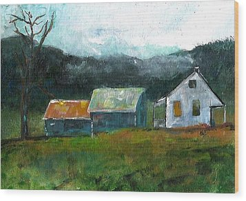 Farmhouse Wood Print by Michele Carter