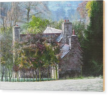 Wood Print featuring the painting Farmhouse On A Cold Winter Morning. by Harry Robertson
