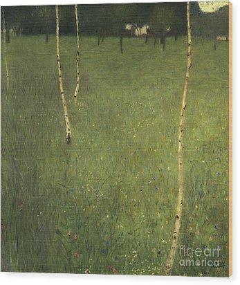 Farmhouse With Birch Trees Wood Print by Gustav Klimt