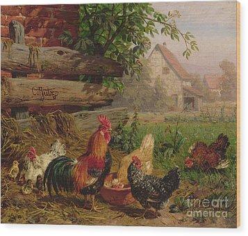 Farmyard Chickens Wood Print by Carl Jutz