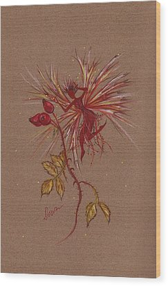 Wood Print featuring the drawing Fashion Debate With Rose Hips by Dawn Fairies