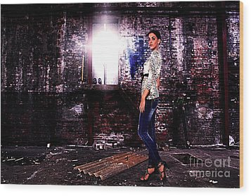 Fashion Model In Jeans  Wood Print by Milan Karadzic