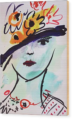 Fashion, Vintage Hat With Flowers Wood Print by Amara Dacer