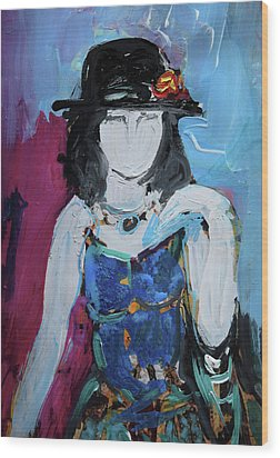 Fashion Woman With Vintage Hat And Blue Dress Wood Print by Amara Dacer