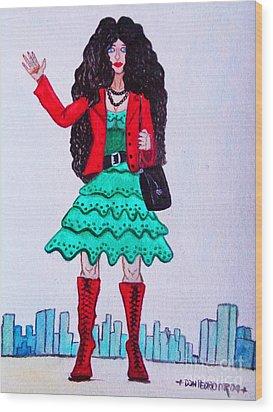 Fashionist Hailing A Taxi Wood Print