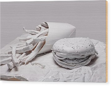Fast Food - Burger And Fries Wood Print