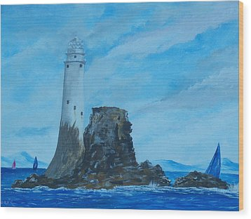 Wood Print featuring the painting Fastnet Rock Lighthouse. by Conor Murphy