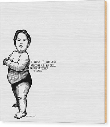 Fat Baby Wood Print by Karl Addison
