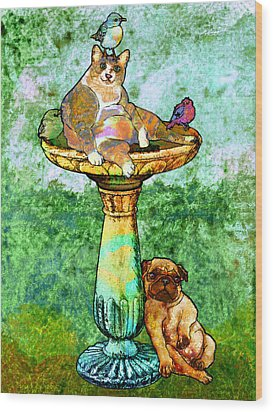 Fat Cat And Pug Wood Print by Mary Ogle