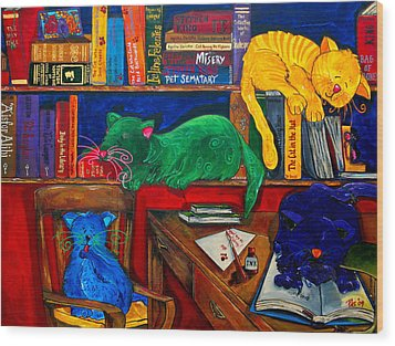 Fat Cats In The Library Wood Print by Patti Schermerhorn
