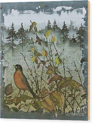 Fat Robins Outside My Windows Wood Print by Carolyn Doe