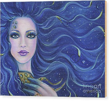 Fatal Beauty Mermaid Art Wood Print by Renee Lavoie