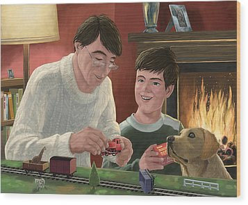 Father And Son Building Model Railway Wood Print by Martin Davey