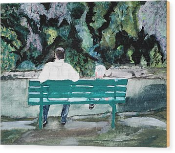 Father And Son Wood Print by Cathy Jourdan