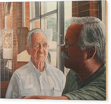 Wood Print featuring the painting Father And Son by Mike Ivey